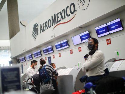 Un mostrador de Aeroméxico, en el aeropuerto de la capital mexicana.