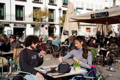 Una terraza de Madrid, el 5 de febrero de 2021.