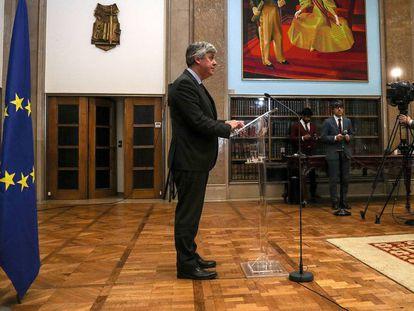 El presidente del Eurogrupo, Mário Centeno, atiende a la prensa en Lisboa después de la reunión con el resto de ministros de Finanzas de la UE, el pasado sábado.