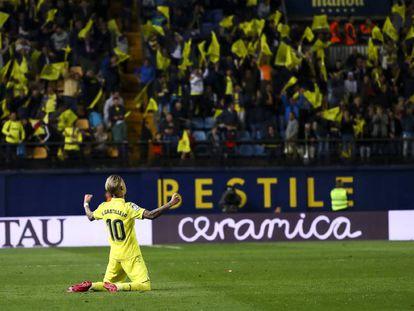 Alegría de Samu Castillejo tras un gol del Villarreal.