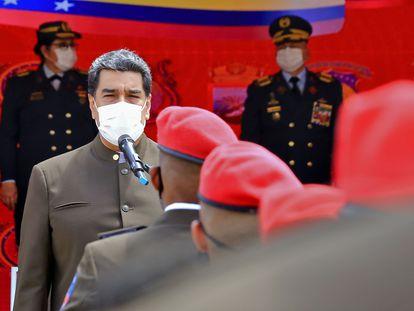 El presidente venezolano, Nicolás Maduro, durante un acto castrense.