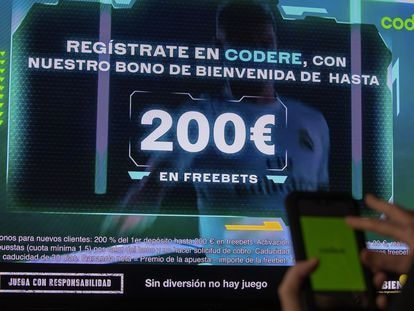 Publicidad de un bono para jugar 'online'.