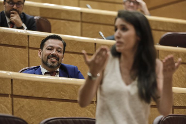 El senador David Erguido, durante la intervención de la ministra de Igualdad, Irene Montero, en el pleno de la Cámara alta del pasado 14 de julio.