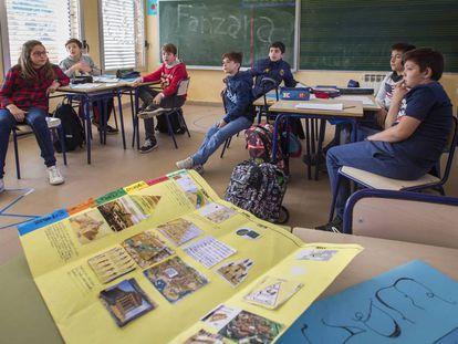 Alumnos del colegio rural de Fanzara, Castellón.