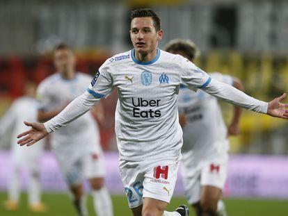 Florian Thauvin celebra uno de sus goles con el Olympique de Marsella, el 3 de febrero.