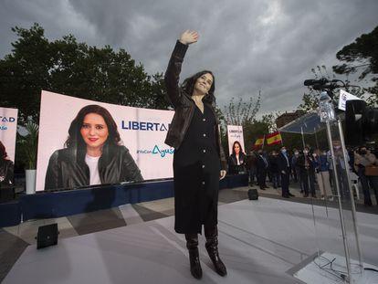 La presidenta de la Comunidad y candidata del PP a revalidar el cargo, Isabel Díaz Ayuso, el 23 de abril.