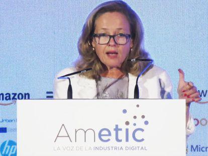 Nadia Calviño, en la inauguración del 34 Encuentro Anual de la Economía Digital de la UIMP.