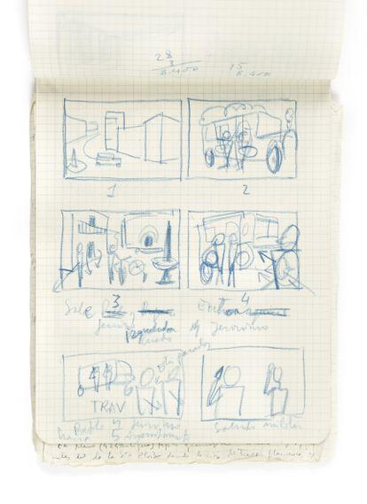 'Story board' de 'Bienvenido Mister Marshall' Una rareza: Berlanga no solía usar este método.