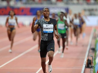 Semenya, camino de la victoria en Doha, en su último 800m.