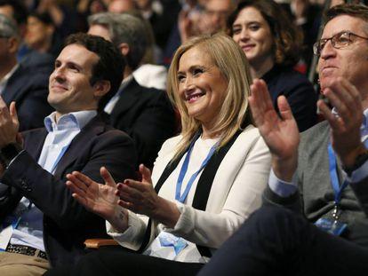 Casado, Cifuentes y Feijóo, en el Congreso del PP de Madrid.