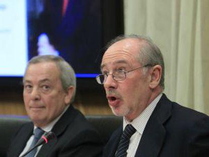 El presidente de Bankia, Rodrigo Rato, y el exministro Carlos Solchaga.