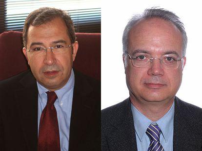 Los constitucionalistas Marc Carrillo (a la izquierda) y Enoch Albertí.