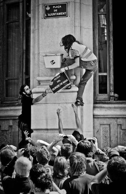 Jóvenes del movimiento 15-M en Valencia.