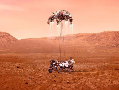 Ilustración de la grúa de aterrizaje depositando al 'Perseverance' en el cráter Jezero de Marte.