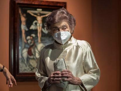 La artista Carmen Laffón, el miércoles en el  Museo de Bellas Artes de Sevilla, donde se han presentado tres exposiciones suyas que tendrán lugar en la ciudad.
