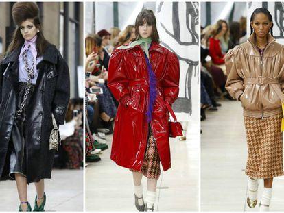Tres modelos en el desfile de Miu Miu en la Semana de la Moda de París.