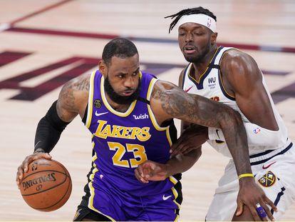 LeBron James y Jerami Grant en un partido de la final del Oeste de 2020.