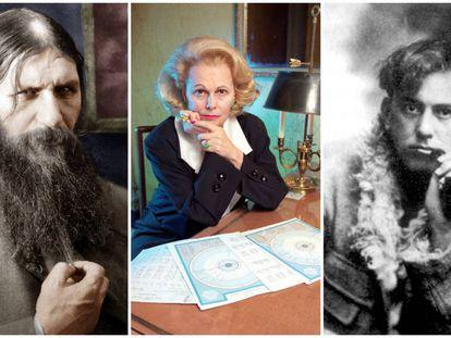Rasputín, Joan Quigley y Aleister Crowley (de izquierda a derecha) ejercieron su influencia sobre la familia Romanov, los Reagan y Winston Churchill, respectivamente.