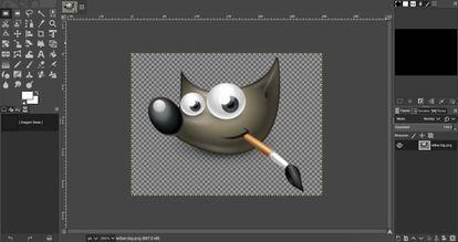 El logo de GIMP abierto en la una de las versiones más recientes de este programa de edición de imágenes