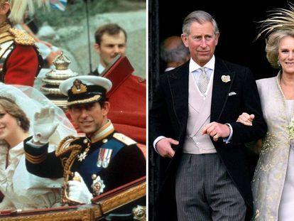 El príncipe Carlos y Lady Di, en 1981 (izquierda) y el príncipe carlos y Camila Parker-Bowles, en 2005.