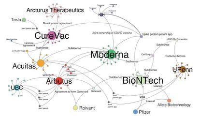 Gráfico que muestra las 89 patentes sobre vacunas de ARN y sus propietarios.