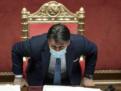 El primer ministro italiano Giuseppe Conte en un debate en el Parlamento el 19 de enero.
