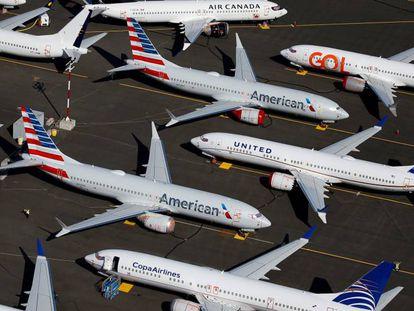 Aviones 737 MAX de distintas aerolíneas aparcados en las instalaciones de Boeing en Seattle (Washington, EE UU).