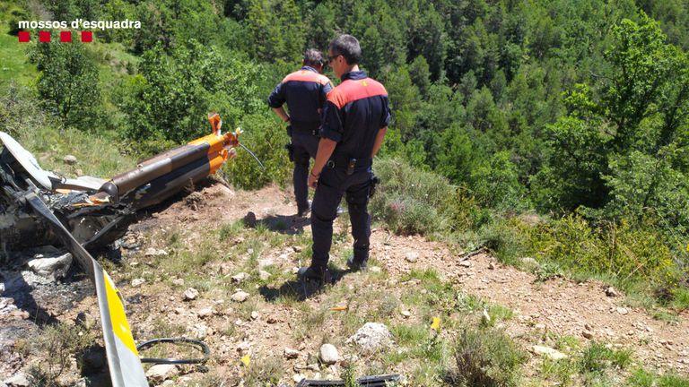El helicóptero accidentado en el Alt Urgell.