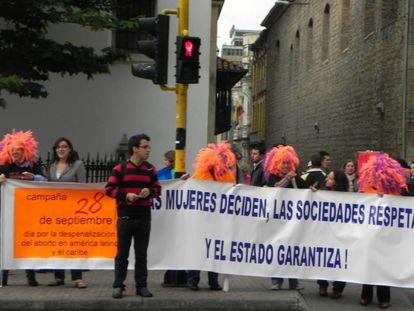 Una manifestación a favor del aborto en el centro de Bogotá.