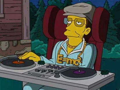 La versión animada del físico Stephen Hawking en la serie Los Simpson.