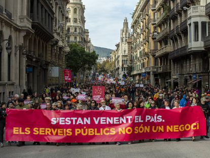 Manifestación contra la 'ley Aragonès' este domingo en Barcelona.