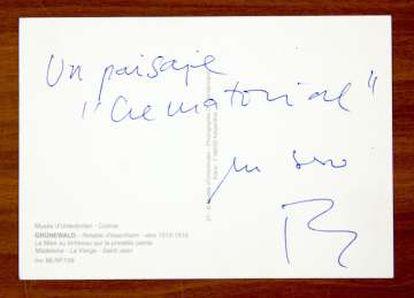 """Postal de Rafael Chirbes con un """"paisaje crematorial""""."""