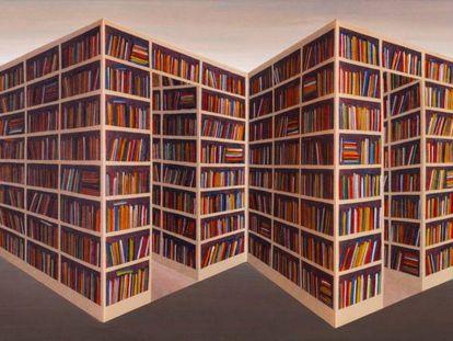 El cuadro 'Reverspective' (1996), de Patrick Hughes, que cuelga en la Biblioteca Británica de Londres.