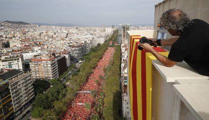 Imagen de la manifestación de la Diada, en la Avenida Diagonal de Barcelona, el año pasado.