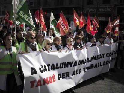 Protesta de sanitarios de centros concertados, el pasado febrero