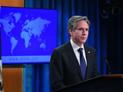 El secretario de Estado Antony Blinken presenta el informe anual sobre Derechos Humanos, el martes en Washington.
