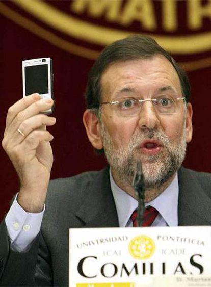 Mariano Rajoy, durante una conferencia que ha pronunciado hoy en la Universidad Pontificia de Comillas.