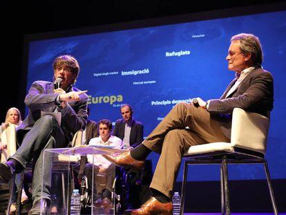 Carles Puigdemont y Artur Mas, en un acto del PDeCAT