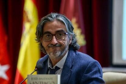 El periodista y escritor Jesús Bastante durante la presentación de su libro, el 13 de julio, en Madrid.
