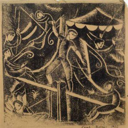 'Hamacas', grabado realizado por Norah Borges en 1922.
