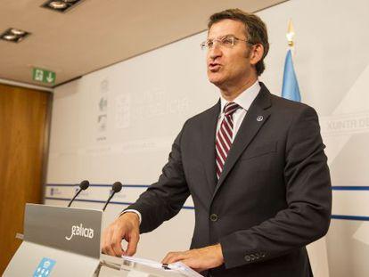 El presidente de la Xunta durante la rueda de prensa