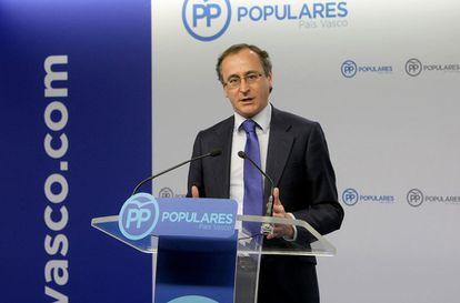 Alfonso Alonso, en su comparecencia en Bilbao.