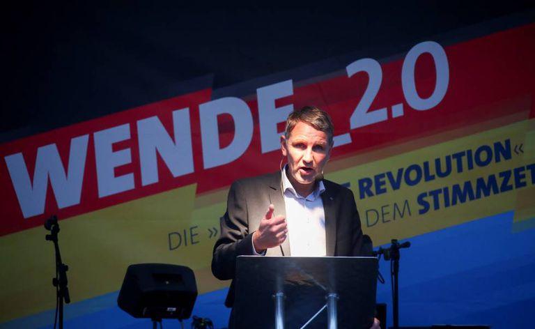 El líder de Alternativa para Alemania (AfD) en Turingia, Björn Höcke, durante un acto de campaña en Gotha el pasado octubre.