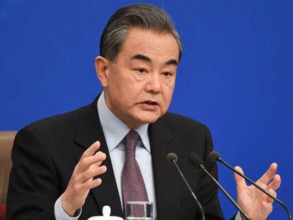 El ministro de Asuntos Exteriores chino, Wang Yi, durante su rueda de prensa.
