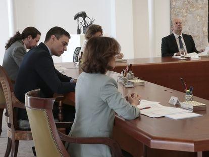 Reunión del Consejo de Ministros, este sábado en La Moncloa.
