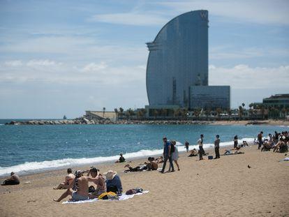La playa de la Barceloneta (Barcelona) el pasado jueves.