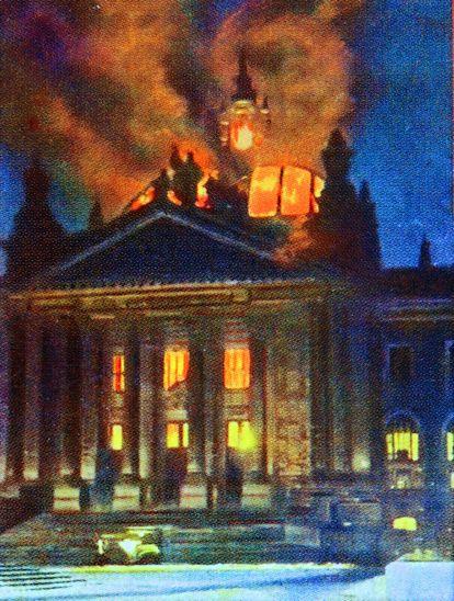Incendio del Reichstag en Berlín, el 27 de febrero de 1933.