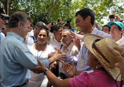 Juan Manuel Santos enHonda, en el departamento de Tolima.