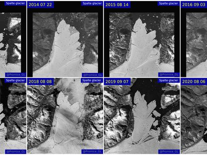 A combination picture shows satellite images of the Spalte glacier disintegration between 2013 and 2020. EU Copernicus and GEUS/Handout via REUTERS NO RESALES. NO ARCHIVES. THIS IMAGE HAS BEEN SUPPLIED BY A THIRD PARTY. MANDATORY CREDIT