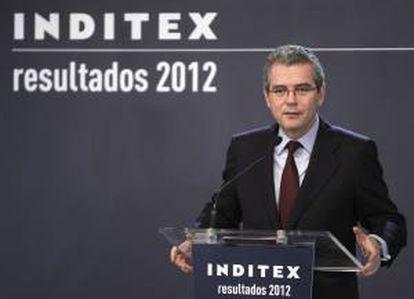 El presidente de Inditex, Pablo Isla, durante la presentación de los resultados anuales correspondientes a 2012